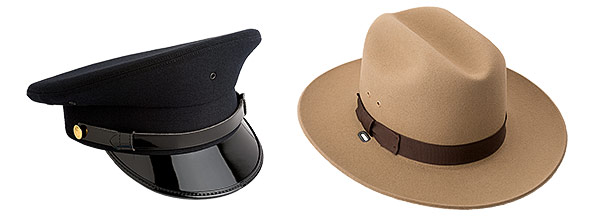 Product photos of military/police style dress hats